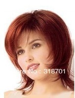 New stylish Red curly Short Hairstyle Soft Natural Synthetic Hair wig/wigs