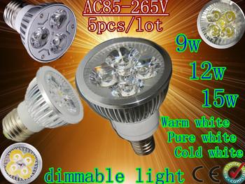 5pcs/lot Home Garden High Power E27 9w 12W 15w dimmable LED lighting Spotlight led bulbs led lamp 85-265V free shipping