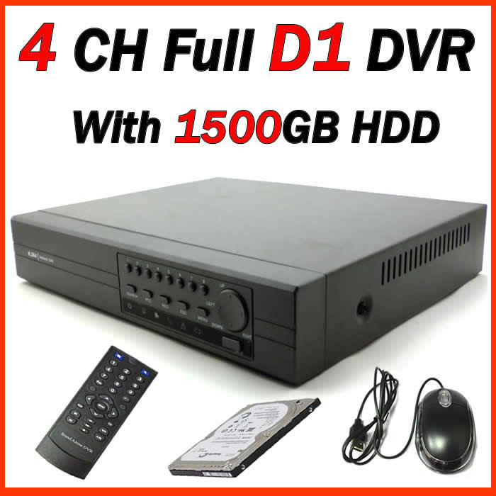 2013 Newest, 4CH Full D1 DVR with 1500GB H.264, Plug and play, Remote View via Internet Free shipping!(China (Mainland))