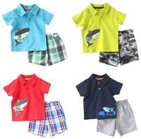 Original Carter's Baby Boys Short Sleeve Shirt + Shorts Summer 2 Pieces Clothing Set Cotton Shark Alligator Model, free shipping