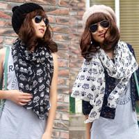 2015 autumn and winter skull scarf silk scarf chiffon scarf y91w45
