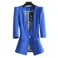 2013 summer blazer chiffon yarn half sleeve slim thin female blazer suit candy