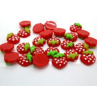 50pcs Resin Red Strawberry Beads Flatback Cabochon Scrapbook