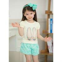 New arrival children girls summer short clothing set printed dance shoes t shirt +rose shorts two pieces kids girl clothes suit