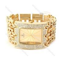 Free shipping Aglisten Series 3-row Band Diamond Accent Square Case Gold Women's Quartz Watch