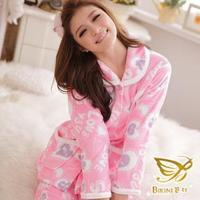 winter 2014 women Love sweet coral fleece thickening belt robe sleep set lounge women sleepwear,night wear