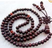6mm Tibetan Buddhist 108 wood Prayer Bead Mala Necklace