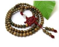 Long Tibetan 108 8mm Green Sandalwood Prayer Bead Dharma Wheel Mala Necklace