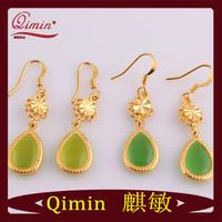 Free Shipping Fashion 24K Gold Filled Opal Green Water Drop Earrings 2014 Fashion+Opp Packing,Fashion Jewelry Drop Earrings