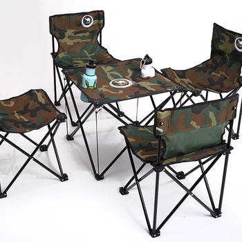 Free shipping Camel Camouflage five pieces set outdoor folding tables and chairs set carry