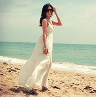 2014 spring and summer new evening  beach one-piece dress bohemia plus size spaghetti strap V-neck maxi full dress free shipping