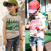 Free Shipping 2014 summer male female child pine letter 100% short-sleeve cotton short-sleeve T-shirt child