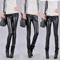 7120 2012 autumn women's plus size tight pants PU pants elastic jeans pencil pants  -size fit all