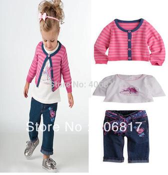 2015 Big promotion Single girls suit 3pcs set Striped Coat+ Shoes Print T-shirt+ Long Jeans pants Children's Clothing Sets