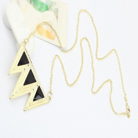 10pcs/lots***European Vintage Fashion Punk Rock Enamel Triangle Wave Necklace Chain  LKX0159