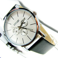 2013 New Classic SINOBI Black Leather Strap Mens Man Fashion Style Quartz Military Wrist Watch