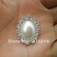 Free Shipping ! Oval Pearl Buckle ,Rhinestone Brooch With Flatback For invitation Card .Price Negotiable for Large Order