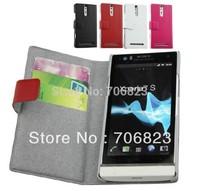 20pcs for SONY  Xperia Arc HD Xperia S LT26i slim Book Flip Genuine Leather case +20pcs screen protector