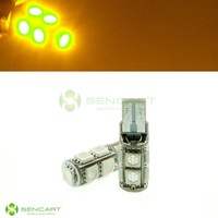 T10 LED 9-5050 SMD  12V Yellow Amber lights Side Tail Trunk Door light bulbs lamp  2PCS/LOT FreeShipping
