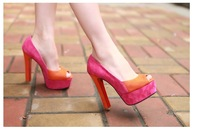 2013 spring summer autumn girl women sexy pointed-toe high-heel shoes fish mouth shoes party shoes fashion female sandal p orang