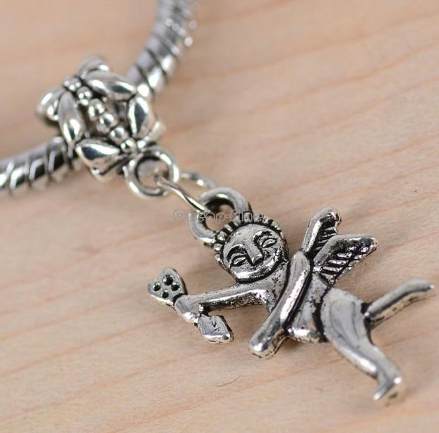 50pcs Tibetan Silver Tone Cupid Angel Style Charms Pendant Bead fit European Bracelet DIY Metal Jewelry