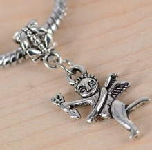 300pcs Tibetan Silver Tone Cupid angel style Charms Pendant Bead fit European Bracelet DIY Metal Jewelry M1188