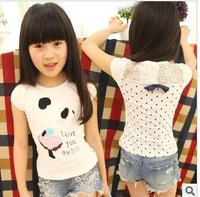 2013 children's summer clothing rhinestone pasted cartoon bear lace short-sleeve T-shirt child