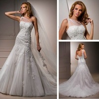 Free Shipping New White Tulle and Lace Mermaid Styles Best Selling One Shoulder Bridal Gown Custom Size Wholesale/Retail