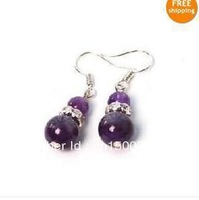 wholesale 925 sliver hook Natural 8-10mm Russian Amethyst Earring Fashion jewelry