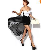 Women Sexy Corset Women's Dress Bandeau Strapless Chiffon Asymmetric Cocktail Party Evening Dress Dress Black , Free Shipping