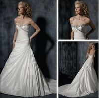 Free Shipping New Popular White/Ivory Sweetheart Taffeta Silver Beads Wedding Dress Bridal Gown Custom Size Wholesale/Retail