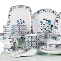 Trinuclear ceramic 46 piece set chinese style ceramic tableware blue lotus dishes plate set wedding gifts
