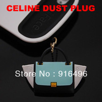 Luxury Brand Creative silicon CELINELty bag headset dust plug for iphone/Samsung 3.5mm jack plug Retail packing Freeshipping