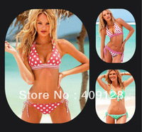 new arrival vs original single bikini swimwear women 2013 fashion Dot Halter girls Bikini good qualituy  push up beachsuit