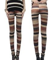 Free shipping Deerskin cashmere stripe legging skinny pants