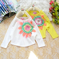 2013 spring and summer mini products children's clothing 100% cotton o-neck long-sleeve T-shirt female child batwing long-sleeve