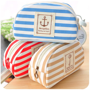 2235 small fresh navy style canvas multifunctional pencil case large capacity korea stationery