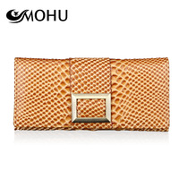 free shipping 2013 serpentine pattern change pocket long design women's cowhide wallet multi card holder wallet