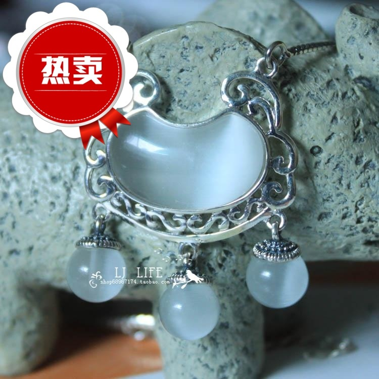 2013 Hot Sale Vintage thai silver longevity lock - stone 925 pure silver chain sets safe lock pendant cat eye necklace(China (Mainland))