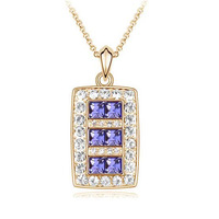 Free Ship 2013 new Fashion queen full rhinestone square Crystal  pendant necklace Party card full crystal  Gold plated necklace