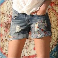 New Arrival 2014 Women Summer jeans Shorts Cotton Denim Shorts Good Elasticity Vintage Hole Short Free Shipping