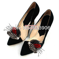 black red  feather spot feather crystal  Feather Shoe Clips Bridal Feathers shoes clip 20pcs=10pairs/lot