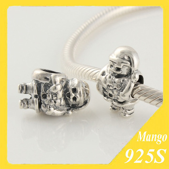 925 Sterling Silver Monster Pendant Ghost Threaded Bead European Chamilia Charm Bracelet DIY Jewelry