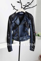 Free shipping 2013 new shoulder to fight skin rivets locomotive denim jacket