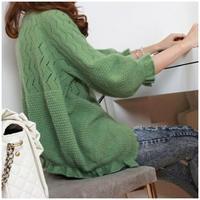 Women Cony Hair Cotton Sweet Candy Color Crochet Knit Blouse Cardigan Hollow Bats sweater waistcoat free shipping