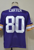 #80 Cris Carter Men's Authentic Team Purple Throwback Football Jersey