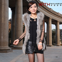 2013 Newest Lady Fashion Real Rabbit Fur Waistcoat with Raccoon Fur Trimming Women Hooded Outwear