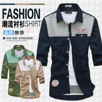 free shipping Navy style color block men's casual slim all-match fifth sleeve male shirts air force army shirts