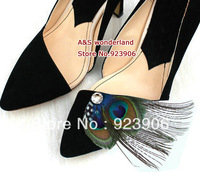 brand new peacock feather crystal  Feather Shoe Clips Bridal Feathers shoes clip 16pcs=8pairs/lot hot sell