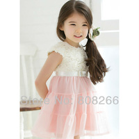 free shipping 2013 new summer flower dress for girl princess kids dresses age 3-8 Y